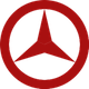 Mercedes Benz Logo in rot